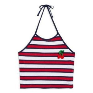 Topshop Cherry Embroidered Stripe Halter Top